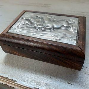 Italian Wooden & Pewter Trinket Box Pair of Horses